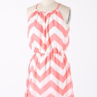 Knockout Chevron Dress- Peachy Coral