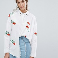 Neon Rose Oversized Shirt With Floral Embroidery at asos.com