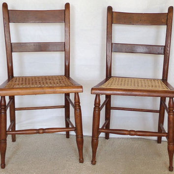 Pair Vintage Caned Side Chairs, Slat Back Side Chair, Wicker Ladder Back Dining Chair, Rustic Furniture