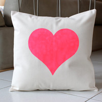 Big Fluorescent Pink Heart Pillow Case - Hand Painted on Natural Cotton Canvas -Hot Pink Cushion Cover - 18x18 Pillow Cover