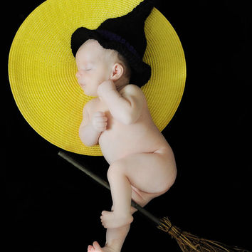 Crochet Black Witch Halloween Hat - Witch costume Hat, Crochet Witch Hat, Newborn, Baby, Toddler, Child, Teen, Adult