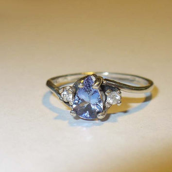 Genuine Tanzanite Ring in Sterling with Zircon Accents - size 6.75