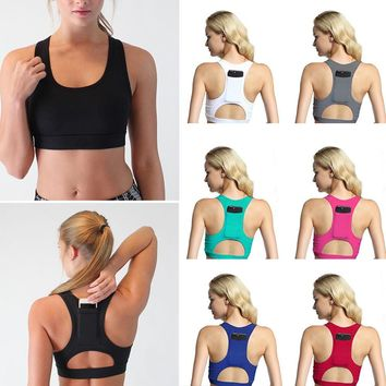 Women Cross Back Push Up Padded Sports Bras Shockproof Sportswear Gym Fitness Athletic Running Yoga Crop Top Deportivo Mujer