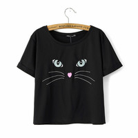 Black Cat Embroidered T-Shirt