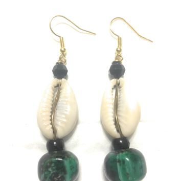 Cowrie Shell Earring with green bead anchor by Doorstoafrica