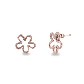 CZ Kissed Flower Stud Earrings in Rose Gold Sterling Silver