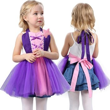2017 Summer Baby Girls Apron Cotton Dress Girls Rapunzel Princess Dresses Kids Cosplay Costume Party Dress Purple Children