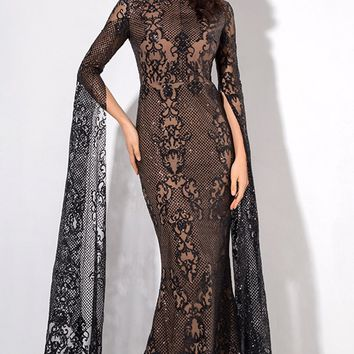 Longing For Love Black Lace Glitter Extra Long Sleeve Mock Neck Bodycon Mermaid Maxi Dress