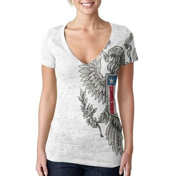 CREYCY8 4th Of July Born Free Vintage American Eagle Juniors Burnout V-Neck T-Shirt