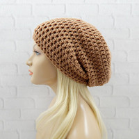 Light Brown Beanie, Slouch Hat, Slouchy Beanie, Vegan Hat, Oversized Hat, Slouchy Winter Hat, Womens Hat, Crochet Beanie, Slouchy Hat
