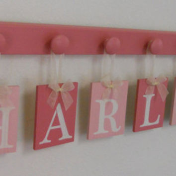 Baby Girl Name Wall Hanging Sign Set Includes 6 Wooden Hooks Painted Pinks and Light Pink. Custom Hanging Letters - HARLOW