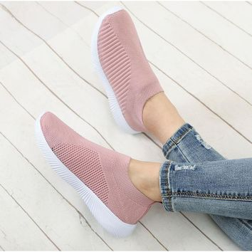 Hot Selling Casual Stretch Flat Fashion Ladies Slip On Shoes