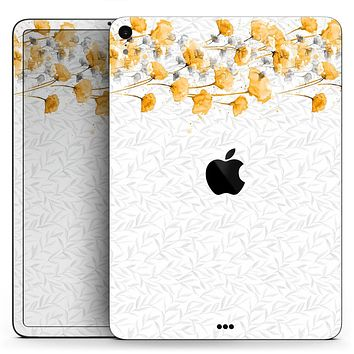 "Karamfila Yellow & Gray Floral V14 - Full Body Skin Decal for the Apple iPad Pro 12.9"", 11"", 10.5"", 9.7"", Air or Mini (All Models Available)"