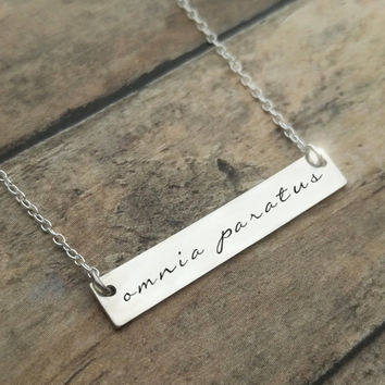 Omnia Paratus Necklace, Ready For Anything, Gilmore Necklace, Sterling Silver, Latin Necklace