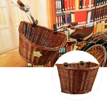 Wicker Bicycle Basket With Brown Straps Strong Lightweight Bike Cycling Basket Ideal For Transporting Shopping