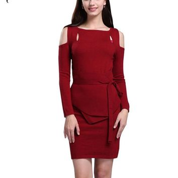 Women's Winter Off The Shoulder Sweater Cashmere Mini Dress Elegant Lady Hollow Design Knitted Christmas Vintage Dresses