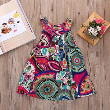 Dresses 2016 NEW Toddler Baby Flower Girls Princess Clothing Vintage Brief Cotton Sleeveless Wedding Party Kids Mini Girl Dress
