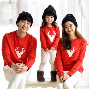 ESBL 2016 Spring Autumn Family Matching Outfits Father Son Christmas Shirts Mother Daughter Dad Boy Casual Cotton Long Sleeve T-shirt
