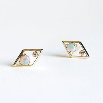 Opal & Diamond Stud Earrings - 14k Gold - Natural Opal - White Diamond - Best Holiday Gift - Simple Minimalist Everyday Jewelry LITTIONARY