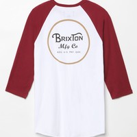 Brixton Wheeler Baseball T-Shirt - Mens Tee - White/Burgandy