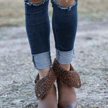 Tabloid Leopard Fold Over Booties