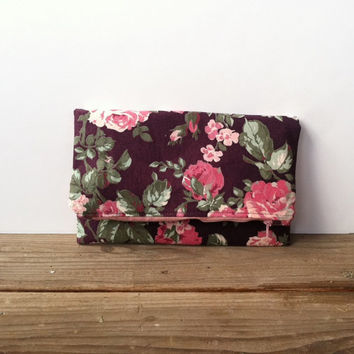 Plum Floral Foldover Clutch Purse - Vintage Fabric Fold Over Clutch - Rose Garden Floral Purse