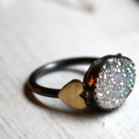 Snow White Drusy with Hearts Ring by RachelPfefferDesigns on Etsy