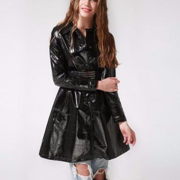 Faux Leather Long Belted Trench Coat