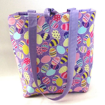 Easter Purse, Small Tote Bag, Handmade Handbag, Easter Eggs, Purple, Fabric Bag, Cloth Purse, Teen Purse, Girls Purse