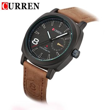 HOT NEW FASHION QUARTZ HOUR DIAL CLOCK LEATHER STRAP CURREN WATCHES BUSSINESS MEN'S SPORT MILITARY STYLE WATER WRIST WATCH 8139