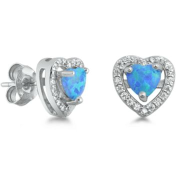 .925 Sterling Silver Heart Blue Opal Fire Ladies Stud Earrings with Simulated Diamond Accents