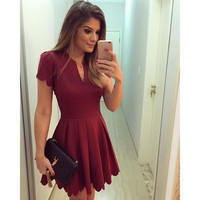 2016 Sexy Short Sleeve V Neck Solid Erotic Casual Party Playsuit Clubwear Bodycon Boho Dress _ 8685