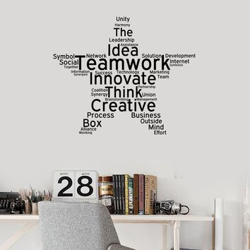 Teamwork Vinyl Wall Decal Office Study Decoration Star Words Cloud Stickers Mural (ig5453)