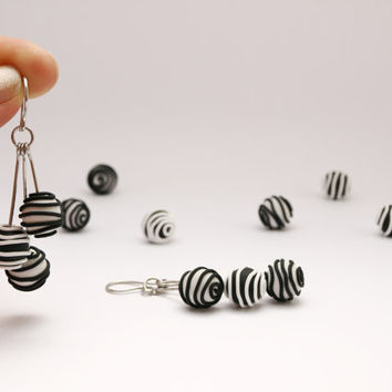 Black White Dangle Balls Polymer Clay and Stainless Steel Earrings, Music Lines Theme