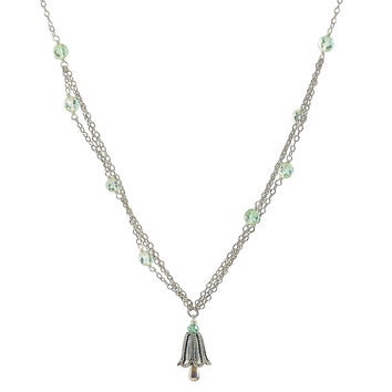 Triple strand Green Amethyst bali style sterling silver necklace