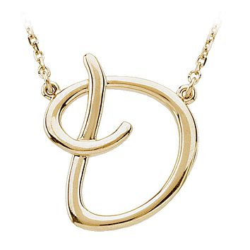 Script initial Necklace in 14k Yellow Gold, Letter D