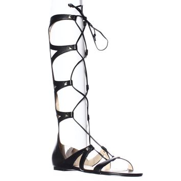 Ivanka Trump Camila Knee High Lace Up Gladiator Sandals, Black, 7 US