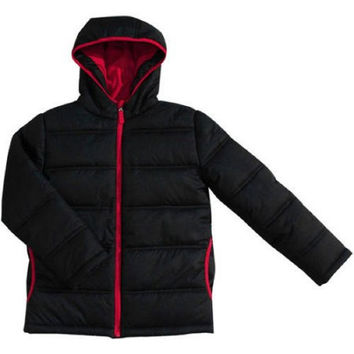 Faded Glory Boys' Bubble Jacket, XSmall (4-5), Black Soot/Red Trim