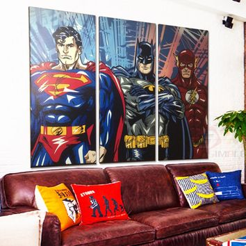 Comic Super Hero Batman Superman Flash Canvas Wall Art Print for Living Room