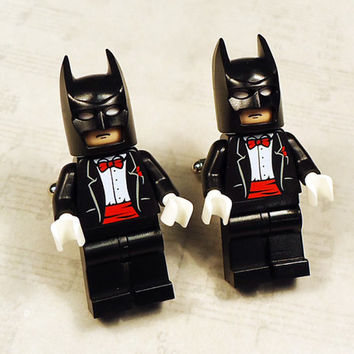 Full body Batman black with red wedding tuxedo on silver toned cufflinks in gift box