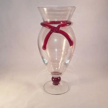 Clear Glass Vase With Red Glass Tie And Ball Stem
