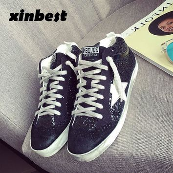a0d3531cdb26 2018 Xinbest Skateboarding Shoes Do Old Dirty Women Sneakers Glitter Canvas  Shoes Sequins Star Gold Sport