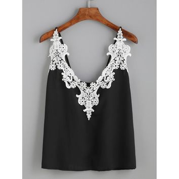 Embroidered Lace Applique Cami Top
