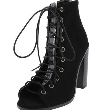 Black Open Toe Lace Up Anklen Booties