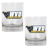 NCAA West Virginia Mountaineers 2 piece Rocks Glass Set