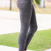 Fleece Lined Get Fit Yoga Pants - Grey