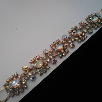 ON SALE Vintage Aurora Borealis Rhinestone Bracelet High End Collectible 1950's Jewelry Vintage Wedding Bridal Accessories