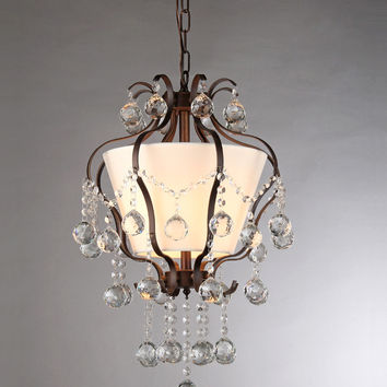 Stacey Fabric Lampshade/ Antique Bronze and Crystal 4-light Chandelier