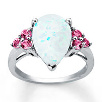 Lab-Created Opal Ring Lab-Created Pink Sapphire Sterling Silver