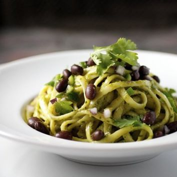 Linguini, Smoky Avocado Sauce, Black Beans, Lime   Taste With The Eyes  where the image is meant to titillate and inspire the cook